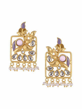 Purple Gold Tone Kundan Inspired Earrings With Pearls
