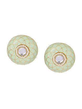 Green Gold Tone Enameled Earrings