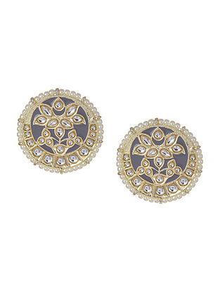 Grey Gold Tone Kundan Enameled Inspired Beaded Earrings