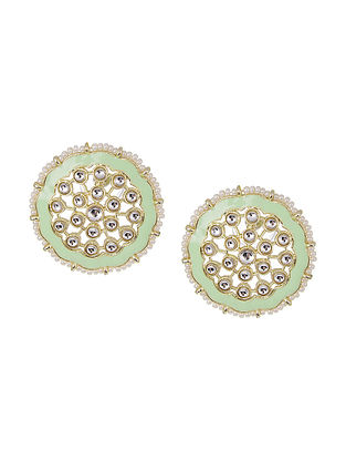 Green Gold Tone Enameled Kundan Inspired Beaded Earrings