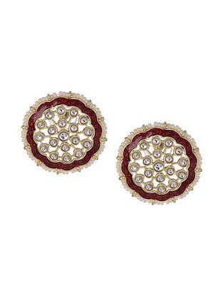 Maroon Gold Tone Enameled Kundan Inspired Beaded Earrings