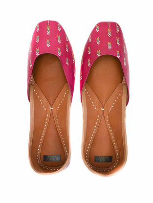 Fuchsia Pink Handpainted Leather Juttis