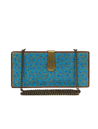 Blue Handcrafted Wooden Clutch