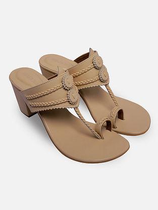 Beige Handcrafted Leather Kolhapuri Block Heels