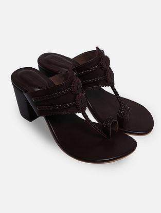 Burgundy Red Handcrafted Leather Kolhapuri Block Heels