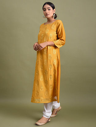 Yellow Embroidered Chanderi Kurta with Cotton Lining
