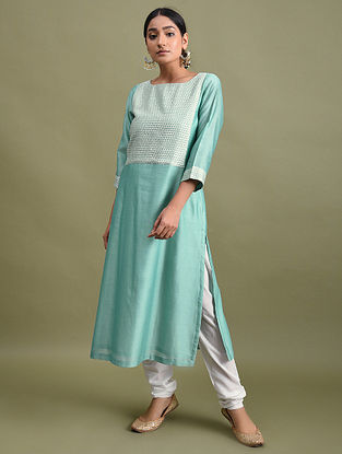 Sea Green Embroidered Chanderi Kurta with Cotton Lining