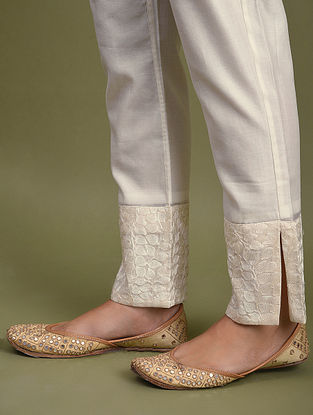 Ivory Embroidered Chanderi Pants