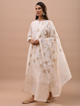 Ivory Gold Patchwork Chanderi Dupatta
