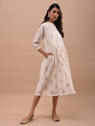 Ivory Gold Chanderi Jacquard Dress