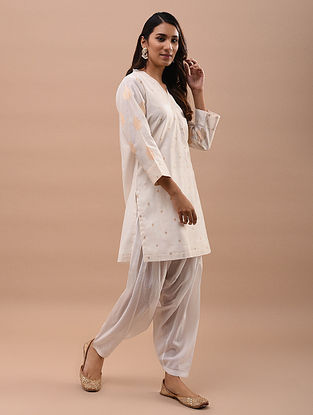 Ivory Gold Chanderi Jacquard Short Kurta with Cotton Lining