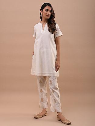 Ivory Chanderi Short Kurta with Tissue Details