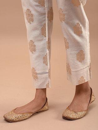 Ivory Gold Tie-up Chanderi Jacquard Pants