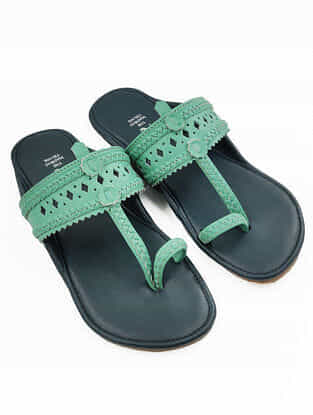 Mint Green Handcrafted Leather Kolhapuri Flats