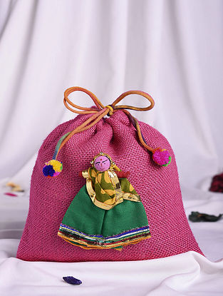 Multicolored Handmade Jute Cotton Potli