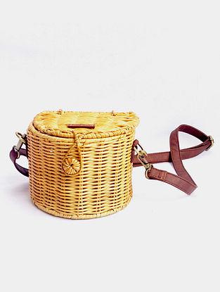 Beige Handcrafted Cane Sling Bag