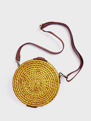 Yellow Handcrafted Cane Sling Bag