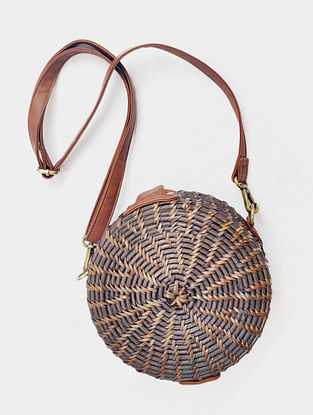 Brown Handcrafted Cane Sling Bag