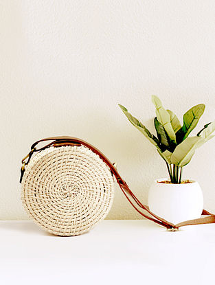 White Handcrafted Cane Sling Bag