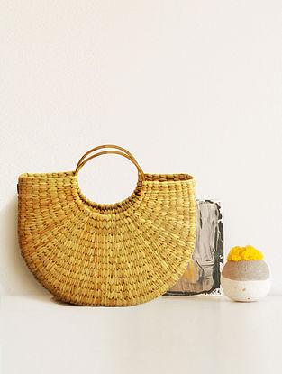 Beige Handcrafted Kauna Grass Tote Bag