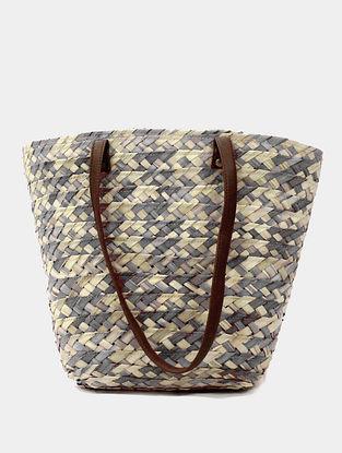 Grey Handcrafted Palm Leaf Tote Bag