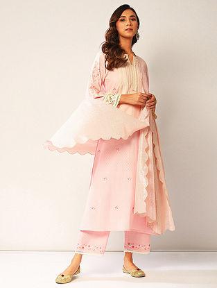 Pink Embroidered Cotton Lurex Dupatta with Silver Zari Scallops