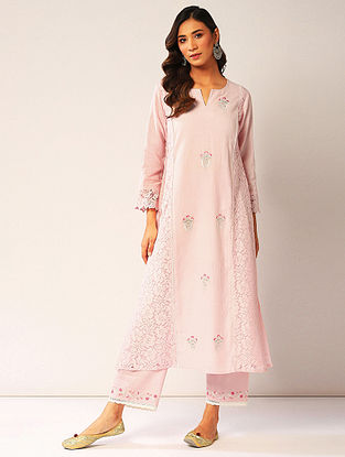 Pink Embroidered Cotton Dobby Kurta with Lace Detailing