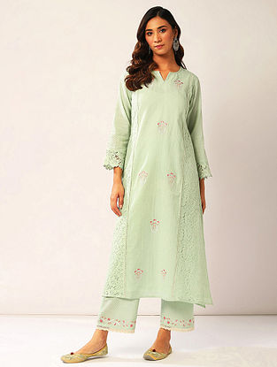 Pastel Green Embroidered Cotton Dobby Kurta with Lace Detailing