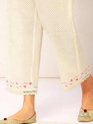 Ivory Embroidered Cotton Dobby Palazzos with Lace Detailing