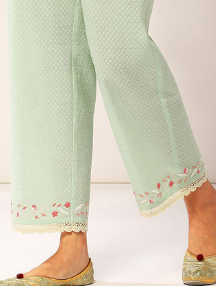 Pastel Green Embroidered Cotton Dobby Palazzos with Lace Detailing