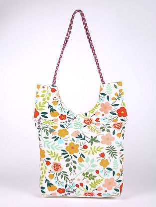 Multicolored Printed Cotton Tote Bag