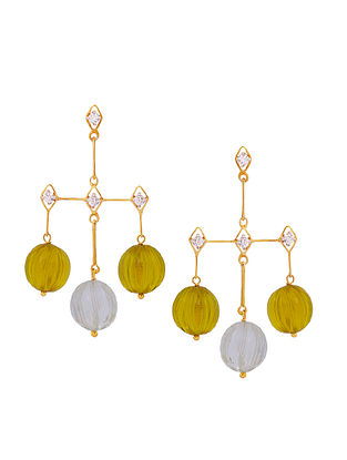 Yellow Gold Tone Silver Earrings