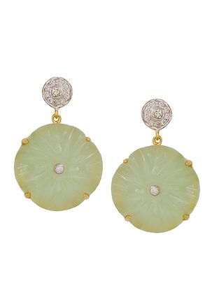 Aqua Green Gold Tone Silver Earrings