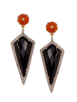 Orange Black Onyx Gold Tone Silver Earrings