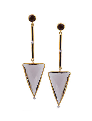 Black Enameled Gold Tone Silver Earrings with Smoky Topaz