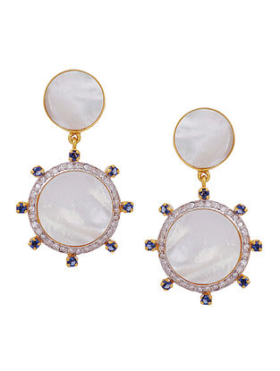 Gold Tone Silver Earrings with Mother of Pearl