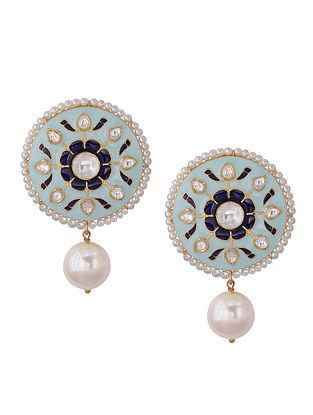 Blue Meenakari Gold Tone Silver Earrrings with Pearls