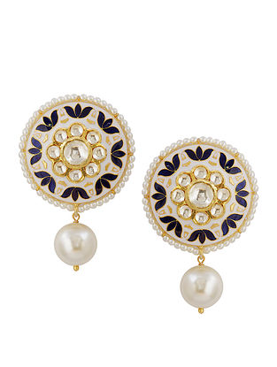 Ivory Blue Meenakari Gold Tone Silver Earrings with Pearls