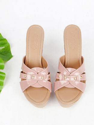 Nude Pink Hand Embroidered Faux Leather Wedges