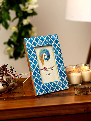 Blue and White Enameled MDF Photo Frame (5.90in x 3.93in)