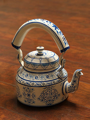 Blue and White Hand-painted Aluminum Kettle (500ml) (Dia - 4.5, H - 5in)