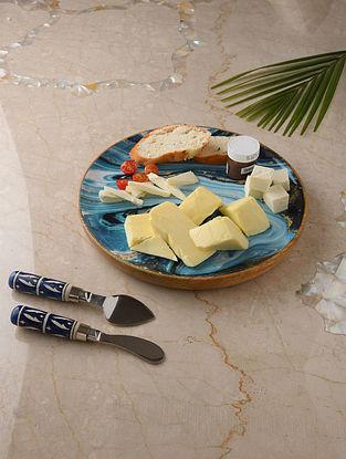 Blue and White Enameled Mango Wood Platter (Dia - 11.5in)