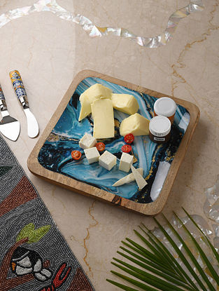 Blue and White Enameled Mango Wood Platter (L - 11in, W - 11in, H - 1in)