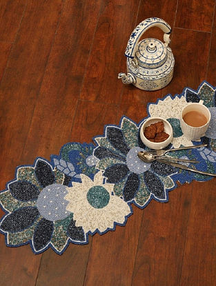 Blue and White Polyester Table Runner with Beadwork (34.64in x 12in)