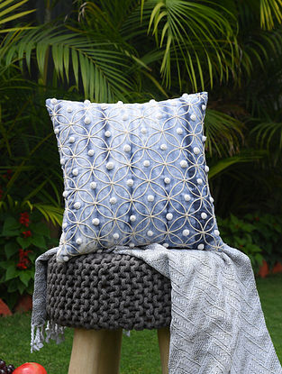 Blue and White Shibori Dyed Cotton Cushion Cover with Cord Embroidery and Beadwork (16in x 16in)