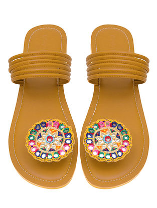 Mustard Handcrafted Faux Leather Flats