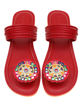 Red Handcrafted Leather Flats