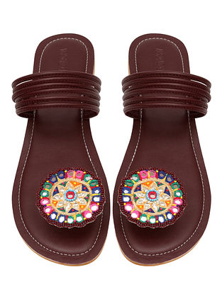 Burgundy Handcrafted Leather Flats