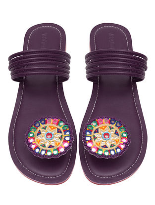 Purple Handcrafted Leather Flats