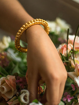 Gold Plated Silver Bangle (Size: 2/6)